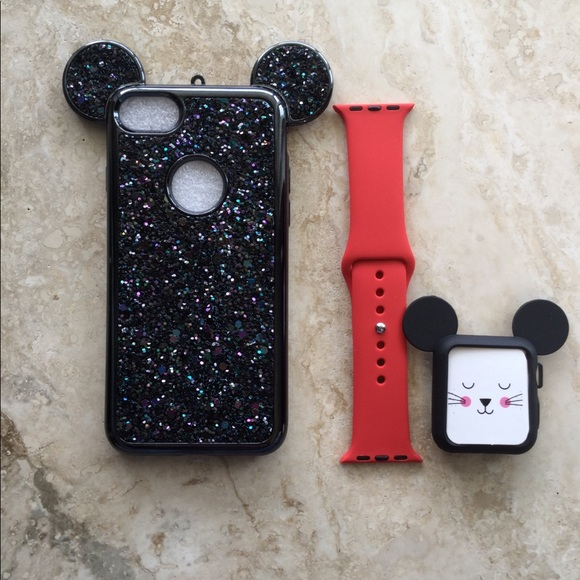 official photos 18327 03af8 Apple Watch Mickey Mouse Ears Case/Silicone Band NWT